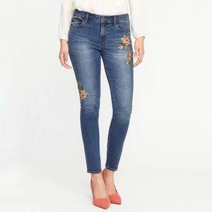 [Old Navy] Floral Embroidered Rockstar Skinny Jean